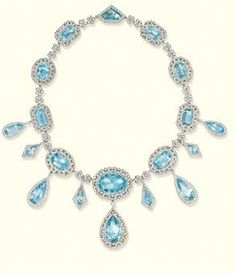 A Belle Epoque aquamarine and diamond necklace, by Koch