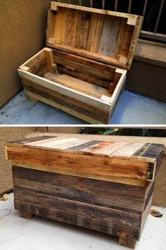 Embellish your home this year with the help of profitable wooden pallet projects ideas. The profitable wooden pallet projects ideas have a bundle of plus points that help you in deciding why to by these. Wood Pallet Tables, Pallet Boxes, Pallet Storage, Wood Storage Box, Pallet Chair, Wooden Pallet Projects, Diy Chair, Wooden Pallets, Pallet Wood