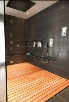 Black stone end wooden floor shower. Relay relaxing rainshower.