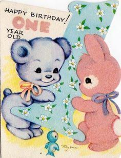 VINTAGE GREETING CARD - HAPPY BIRTHDAY ONE YEAR OLD