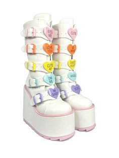 These are cute on another level! Be THE valentine all year-round with these white and pink Dune's with pastel innocence. Charm all your lovelies with a variety of cute inscriptions on candy-like, heart shaped hardware. WHITE VEGAN LEATHER UPPER PASTEL ENAMEL HEART HARDWARE PASTEL DETAILS 6 INCH HEEL, 2 3/4 INCH PLATFORM Egirl Fashion, Kawaii Fashion, Fashion Shoes, Street Fashion, Aesthetic Grunge Outfit, Aesthetic Shoes, Kawaii Shoes, Kawaii Clothes, Goth Shoes