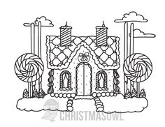 unusual gingerbread house coloring pages - photo#26