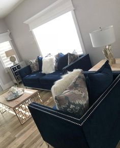 Home Decoration For Diwali .Home Decoration For Diwali Navy Blue And Grey Living Room, Silver Living Room, Navy Living Rooms, Blue Living Room Decor, Home Design Living Room, Glam Living Room, Bedroom Decor, Home Decor Furniture, Living Room Furniture