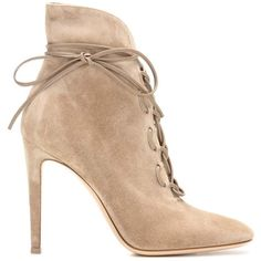 Gianvito Rossi Empire Lace-Up Suede Ankle Boots (7.015 HRK) ❤ liked on Polyvore featuring shoes, boots, ankle booties, lace up booties, brown boots, lace up bootie, brown suede ankle booties and lace up boots