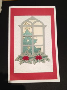 Cricut Christmas card. Using winter wonderland for tree, poinsettia and garland. Christmas cartridge for window.