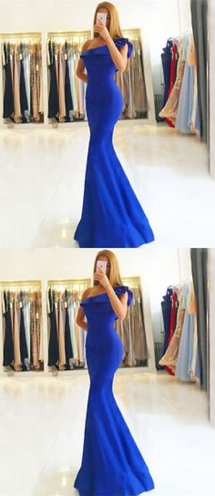d41cf513b62 Mermaid One Shoulder Floor-Length Royal Blue Stretch Satin Prom Dress with  Ruffles