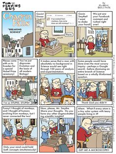 Tom the Dancing Bug, IN WHICH Gavin Smythe, of Chagrin Falls, USA, has an incredible insight that Breaks Science. Good Cartoons, Online Comics, Read Comics, Calvin And Hobbes, Atheism, Political Cartoons, Satire, Comic Strips, Make Me Smile