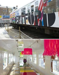 The Deptford Project Cafe, London: A 1960s commuter train carriage serves as an adorable, brightly-colored restaurant by graphic designer Morag Myerscough. The Deptford Project Cafe is part of an ongoing effort to revitalize the railway yard of the Deptford area in south east London. Its bathroom is a garden shed made to look like a shrine to Elvis Presley.