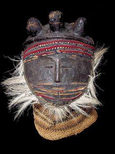 "Chokwe or Luvale Chisaluke mask, Zambia/Angola pitch, fibers, wood, fur, animal hide, felt 10"" tall (mask only), 15"" tall from bottom of hoo..."