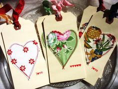 Heart Appliqué Shabby Chic Style Tags-fabric-cream-red-yellow-green-pink-vintage style-country kitchen-sewn gift tags-quilt