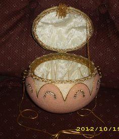 inside of peach colored purse.