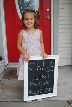 Chloe's first day of school!  She wrote her name on the chalkboard.  I think we'll do this each year to see how it changes over time.  :)
