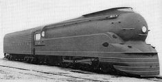 Streamlined locomotive, 4-6-2 Pacific, Class K-4s. Engine no. 3768. Design by Raymond Loewy for Pennsylvania Railroad. Utility patent 2,128,490. 1938    Photo source: Locomotive Cyclopedia of American Practice, Tenth Edition - 1938. New York: Simmons-Boardman Publishing Company.