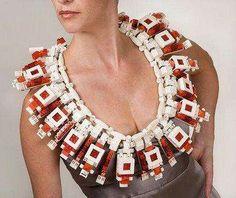 """Cartier Blanc"" Lego necklace by Emiko OYE. Photo: Christine Dhein http://www.rewarestyle.com/eoware/index.html http://www.etsy.com/shop/rewarestyle#"
