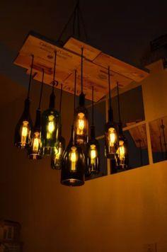 Mason Jar Lamp, Crates, Chandelier, Table Lamp, Bulb, Ceiling Lights, Wine, The Originals, Lighting