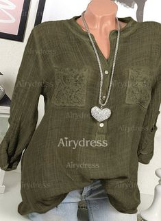 Blouses - $16.50 - Solid Cotton Linen Long Sleeve Blouses (1645245063)