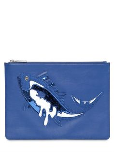 KENZO - FISH PATCH LEATHER POUCH - LUISAVIAROMA - LUXURY SHOPPING WORLDWIDE SHIPPING - FLORENCE