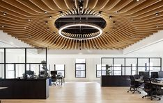 Dramatic ceiling fixture brings the Finsbury HQ to life|||