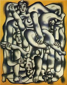 Oil painting reproduction: Fernand Leger Acrobats In Gray 1944 Musée National D'art Moderne, Georges Pompidou, Pompidou Paris, Francis Picabia, Georges Braque, Sonia Delaunay, Collage, Adam And Eve, Oil Painting Reproductions