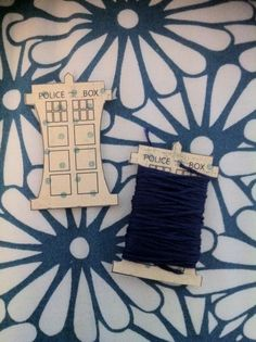 TARDIS embroidery floss bobbins. You can print them and cut them out and use them.