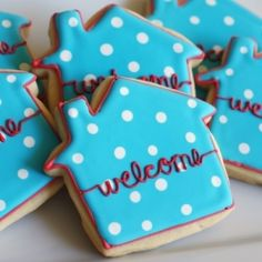 Cute for new neighbors or awesome for a housewarming party! Housewarming Party, Cookie Decorating Party, Decorating Ideas, New Neighbors, Welcome Home, Partys, Sugar Cookies, Coconut Cookies, Party Gifts