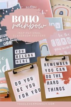 This beautiful set of inspirational posters with modern rainbows and earthy abstract designs in a calming boho color palette are perfect for building resilience and a growth mindset in your classroom.  Made to match our other modern BOHO RAINBOW Classroom Decor, there are 3 different sets of posters to choose from with a mix of different inspiring quotes to display in class #bohorainbowclassroom #growthmindset #positivemindset Classroom Displays, Classroom Themes, Inspirational Classroom Posters, Growth Mindset Posters, Rainbow Decorations, Rainbow Theme, School Signs, Soothing Colors, Teacher Organization