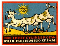 Cute Dairy Cow Cartoon Matchbook Print, Hartford CT, Kitchen Wall decor, Gift for a Cook, milk bottle matches, Funny Advertising Art, 1930s