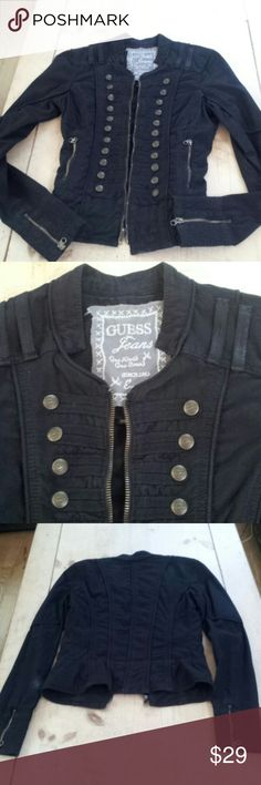 Guess jacket gorgeous Stretch jean material  guess written on each button one of my favorites in very good condition GUESS Jackets & Coats Jean Jackets