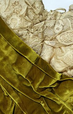 Bodice close up:  Evening dress House of Worth  (French, 1858–1956) Date:1899 Culture:French Medium:silk Credit Line:Gift of Susan Dwight Bliss, 1935Accession Number:35.134.16a, b