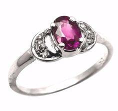 Latest 925 Sterling Silver Natural Ruby & Diamonds Gemstone Women Jewelery Ring #SimSimSilver #New