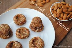 Almond Quinoa Chews (by Adkins Foodie Finds ) Raw Vegan Recipes, Snack Recipes, Cooking Recipes, Healthy Recipes, Healthy Foods, Raw Brownies, Energy Snacks, Vegan Dishes, Healthy Treats