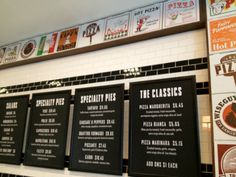 Pie shop menus - white writing on black board