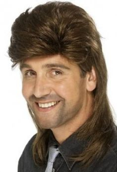 Smiffy's Men's Mullet Wig, Brown, One Size Mens Mullet, Mullet Wig, Mullet Hairstyle, Classic Hairstyles, Hairstyles Haircuts, Short Emo Hair, Wavy Bangs, Halloween Wigs, Adult Halloween