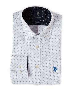 U.S. Polo Assn. White Diamond Print Slim Fit Dress Shirt
