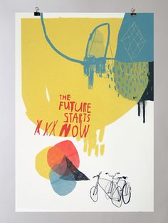 The Future Starts Now. Design Art, Graphic Design, Illustrations And Posters, Cute Illustration, Cover Art, Collage Art, Screen Printing, Poster Prints, Drawings