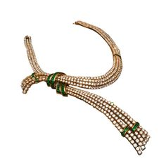 A Superb Gerard Emerald and Diamond Necklace | From a unique collection of vintage rope necklaces at https://www.1stdibs.com/jewelry/necklaces/rope-necklaces/