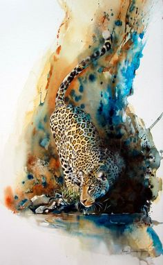 "Self-taught artist Karen Laurence-Rowe paints these beautiful African wildlife paintings. ""I am a self-taught artist – and the mistakes . Art Aquarelle, Art Watercolor, Watercolor Animals, Illustration Book, Illustrations, Watercolor Illustration, Wildlife Art, Wildlife Paintings, Animal Paintings"