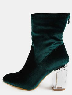 2f365e30b9 Online shopping for Velvet Crystal Heel Ankle Boots EMERALD from a great  selection of women's fashion