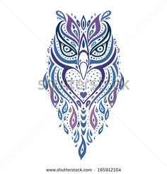 Decorative Owl. Tribal pattern. Ethnic tattoo. Vector illustration. - stock vector