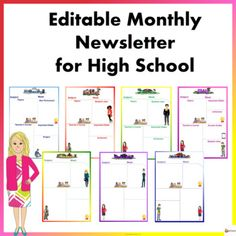 Editable Monthly Newsletter Templates for High School Monthly Newsletter Template, Student Jobs, Teachers Corner, Important Dates, Classroom Resources, High School Students, 12 Months, Star, Learning