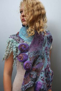 Girl wearing felted scarf by sassafrasdesign, via Flickr