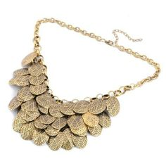 Vintage Golden Chain Lots of Oval Slice Piece Pendant Necklace ComeOnBuying. $6.99