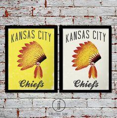 Kansas City Chiefs Headdress Art Print - KC Chiefs Vintage ...