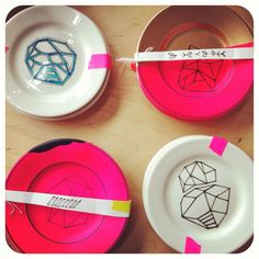 Handpainted Geo neon dishes made by Britt Bass. What would Gerry say if one of these babies popped out of the kiln?