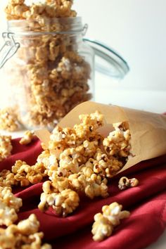 Microwave Salted Caramel Popcorn - Super easy to make in the microwave! From @chocolatewgrace