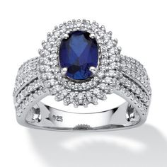 Palm Beach Jewelry TCW Oval-Cut Lab Created Blue Sapphire Halo Ring in Platinum over Sterling Silver Gla Black Diamond Engagement, Elegant Engagement Rings, Oval Engagement, Wedding Rings, Thing 1, Palm Beach Jewelry, Unique Rings, Simple Rings, Fine Jewelry