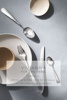Exquisite knives, forks, spoons and chopsticks add the finishing touch to every meal.Modern kitchen flatware on a concrete worktop. Long-time Georg Jensen collaborator Vivianna Torun Bülow-Hübe is known for both her uncompromising lifestyle and her beautiful but functional design work. The cutlery perfectly reflects her aesthetic and love of sensuous shapes and pure simplicity. #georgjensen #danishdeign #cutlery #scandinavianliving #nordicliving