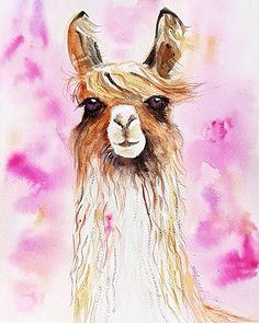 Llama original watercolor