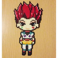 Hisoka - Hunter x Hunter perler beads by la_alu Hisoka, Killua, Easy Perler Bead Patterns, Fuse Bead Patterns, Pearler Beads, Fuse Beads, Hunter X Hunter, Arte 8 Bits, Pixel Beads