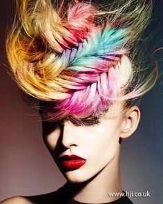 Mark Leeson Hair, Body & Mind – 2013 Artistic Team of the Year Finalist - British Hairdressing Awards HJi Creative Hairstyles, Up Hairstyles, Fantasy Hairstyles, Crazy Hair, Big Hair, Plaited Updo, Fishtail Updo, Avant Garde Hair, Multicolored Hair